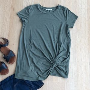 Retrology Green Top with front twist/knot.